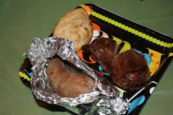 Brendan's favorite meal: steak and sweet potato.